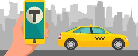 move controller: Phone with interface taxi on a screen on a background taxi in the city. Mobile app for booking taxi service.  Flat vector illustration for business, infographic, banner, presentations.