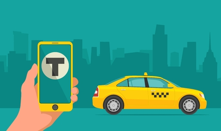 move controller: Phone with interface taxi on a screen on a background taxi in the city. Mobile app for booking taxi service.  Flat vector illustration for business, info graphic, banner, presentations.