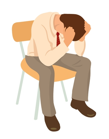 Overworked businessman is under stress with headache. Worried man. Color vector illustration isolated on white background.