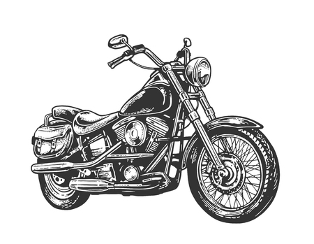 Motorcycle. Side view. Hand drawn classic chopper bike in engraving style. Vector vintage illustration isolated on white background. For web, poster, t-shirt, club.