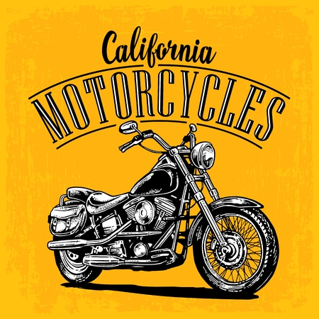 web side: Motorcycle. Side view. Classic chopper bike in engraving style. Vector illustration isolated on white background. For web, poster, t-shirt, tattoo biker club. Isolated on dark blue vintage background