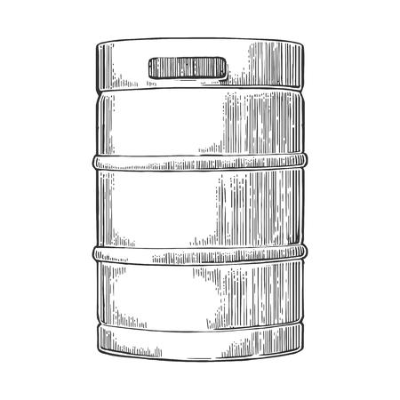 keg: Metal beer keg. Vintage vector engraving illustration for web, poster. Isolated on white background.