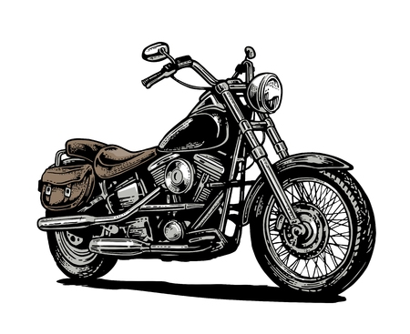 web side: Motorcycle. Side view. Hand drawn classic chopper bike in engraving style. Vector color vintage illustration isolated on white background. For web, poster, t-shirt, club. Illustration