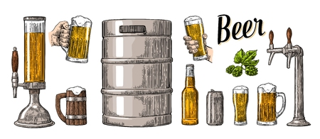 keg: Beer set with two hands holding glasses mug and tap, can, keg, bottle. Vintage color vector engraving illustration for web, poster, invitation to party. Isolated on white background. Illustration
