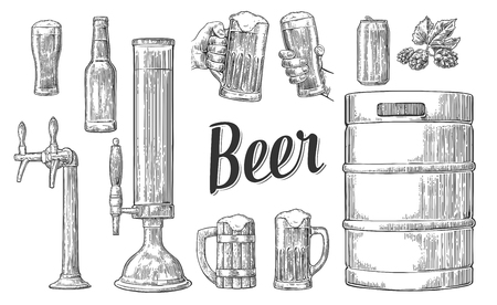 Beer set with two hands holding glasses mug and tap, can, keg, bottle. Vintage vector engraving illustration for web, poster, invitation to party. Isolated on white background.