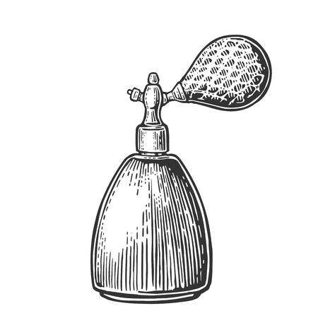 stench: Perfume bottle spray. Vector black illustrations on white backgrounds. Hand drawn vintage engraving for poster, label, banner, web Illustration