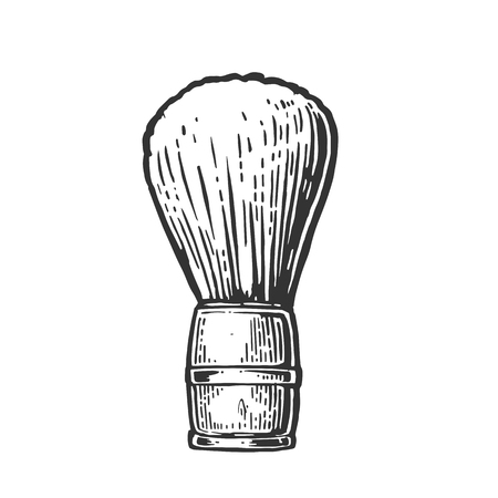 shaving brush: Shaving brush. Vector black illustrations on white backgrounds. Hand drawn vintage engraving for poster, label, banner, web