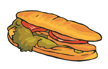 Sandwich isolated on white background. Vector vintage color flat illustration.
