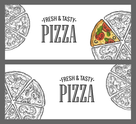 pepperoni: Horizontal poster with monochrome and colorful slice pizza Pepperoni, Hawaiian, Margherita, Mexican, Seafood, Capricciosa. Vintage vector engraving illustration menu, box isolated on white background