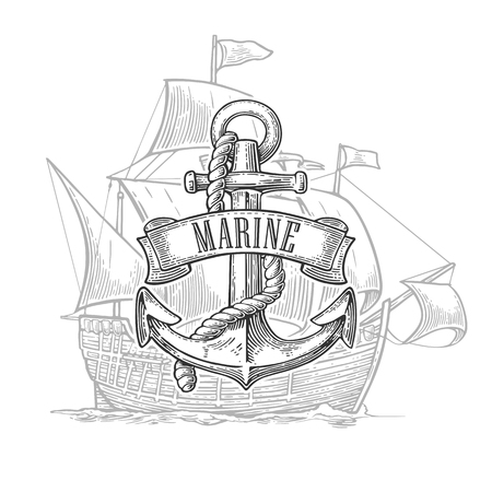 iron ribbon: Anchor with ribbon and rope isolated on ship background. Vector vintage engraving illustration with title MARINE