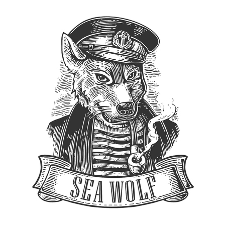 Sea wolf with pipe and ribbon. Vector engraving vintage illustrations. Isolated on white background. For tattoo, poster, web and label
