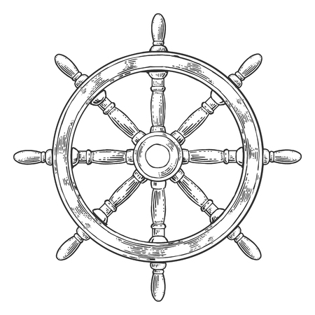schooner: Ship wheel isolated on white background. Vector vintage engraving illustration with title MARINE. Hand drawn in a graphic style.