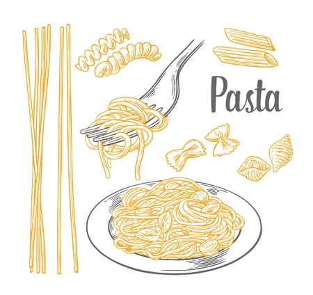 pasta fork: Set pasta - farfalle, conchiglie, penne, fusilli and spaghetti on fork. Vector engraving vintage black and beige illustration isolated on white background.