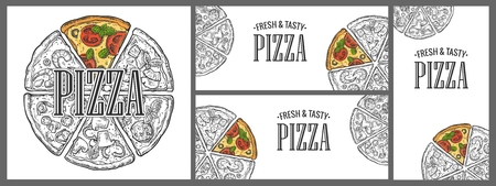 mexican food plate: Horizontal, vertical and square poster with monochrome and colorful slice and whole pizza. Vintage vector engraving illustration menu, box isolated on white background Illustration
