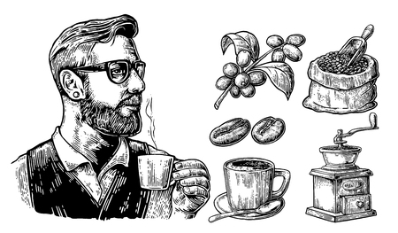 Hipster barista holding a cup of hot coffee. Sack with coffee beans with wooden scoop and beans, cup, branch with leaf and berry. Vintage vector engraving illustration. Isolated on white background.