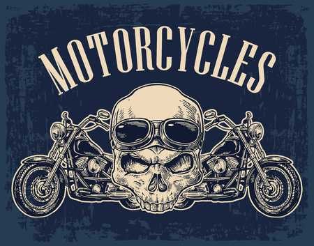 Motorcycle side view and skull with glasses. View over the handlebars. Vector engraved illustration isolated on dark vintage background. For web, poster motorcycle club.