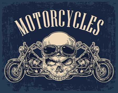 Motorfiets zijaanzicht en schedel met een bril. Zicht over het stuur. Vector gegraveerde illustratie geïsoleerd op donkere vintage achtergrond. Voor web, poster motorclub.