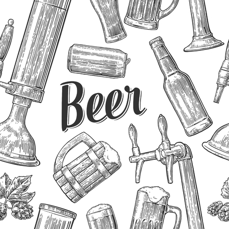 Seamless pattern beer tap, class, can, bottle and hop. Vintage vector engraving illustration for web, poster, invitation to beer party. Hand drawn balck design element isolated on white background.