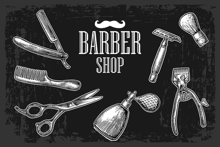 Set tool for BarberShop with comb, razor, shaving brush, scissors, bottle spray and hair cutting machine. Vector drawn vintage engraving for  poster, banner. Isolated on dark background Vettoriali