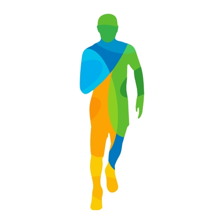participant: Runner. Front view. Abstract colorful vector illustration. For poster, label, banner, web. Isolated on white background