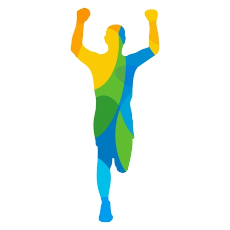 view abstract: Man winning a race. Runner front view. Abstract colorful vector illustration. For poster, label, banner, web. Isolated on white background