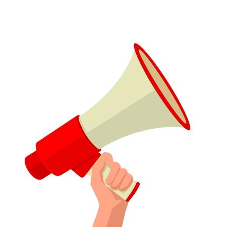 Mannelijke hand die luidspreker. Vector flat illustratie op een witte achtergrond. Voor banner, poster, presentatie, pictogram, promotie en reclame concept. Stock Illustratie