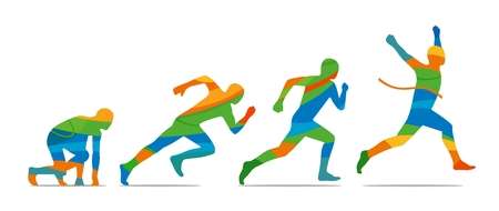 view abstract: Running step. Runner from start to finish. Side view. Abstract colorful vector illustration. Illustration