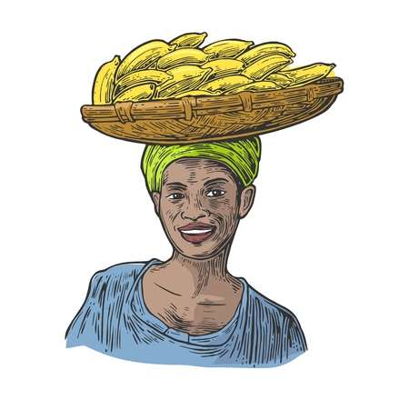african basket: African woman carries a basket with bunch banana on her head. Vector color vintage engraving illustration isolated on white background. For menu, web, label