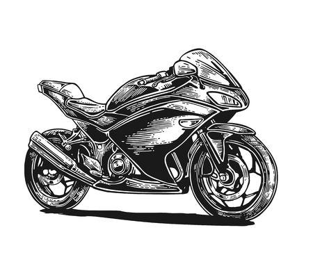 web side: Motorcycle. Side view. Hand drawn engraving style. Vector vintage illustration isolated on white background. For web, poster, t-shirt, club biker. Illustration