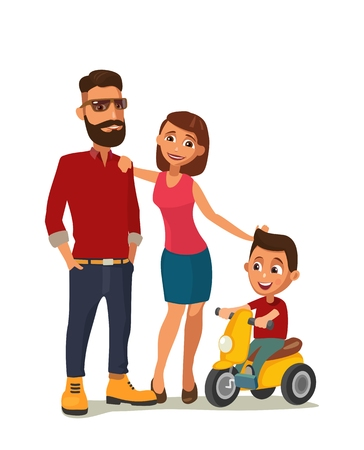 velocipede: Happy family. Hipster parents and child on a tricycle. Color vector illustration isolated on white background. Illustration