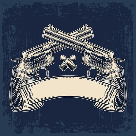 gunman: Two crossed revolver with bullets and ribbon. Vector engraving vintage illustrations. Isolated on dark background. For tattoo, web, shooting club and label