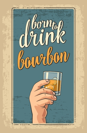 bourbon: Male hand holding a glass with bourbon and ice cubes. Vintage vector flat illustration for label, poster, invitation to invitation to party and birthday. Illustration