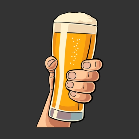 mug shot: Male hand holding a beer glass. Vintage vector flat illustration for web, poster, invitation to party and birthday. Isolated on black background Illustration