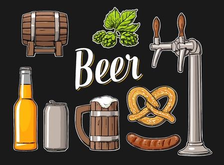 hogshead: Beer set with tap, class, can, bottle, barrel, sausage, pretzel and hop. Vintage vector flat illustration for web, poster. Isolated on black background.