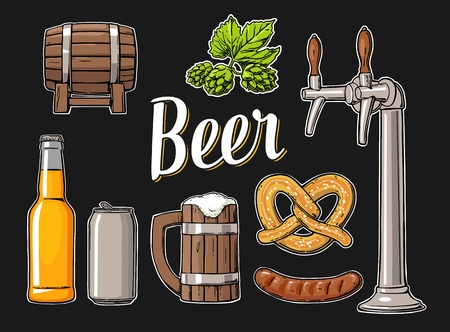 Beer set with tap, class, can, bottle, barrel, sausage, pretzel and hop. Vintage vector flat illustration for web, poster. Isolated on black background.