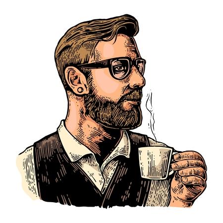 ホット コーヒーのカップを保持しているひげのヒップスターのバリスタ。手描きスタイル。ビンテージ ベクトル色ラベル、web、ポスターのイラスト