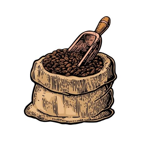 Saco con los granos de café con cuchara de madera. Dibujado a mano del estilo del bosquejo. ilustración de la vendimia grabado de color del vector de la etiqueta, web, flayer. Aislado en el fondo blanco.