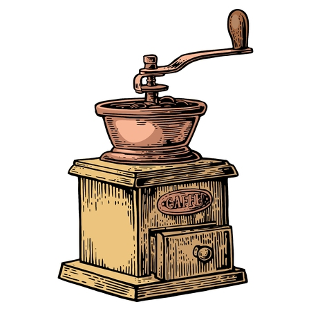 outdated: Coffee mill. Hand drawn sketch style. Vintage color vector engraving illustration for label, web. Isolated on white background. Illustration