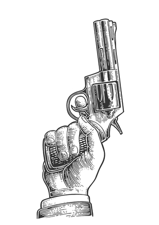 gunman: Hand holding revolver for fired to starting. Vector engraving vintage illustrations. Isolated on white background. For tattoo, web, shooting club and label Illustration