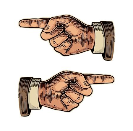 Dedo señalador. Ilustración de color cosecha ilustración grabada aislado en un fondo blanco. Muestra de la mano para la web, carteles, información gráfica Ilustración de vector