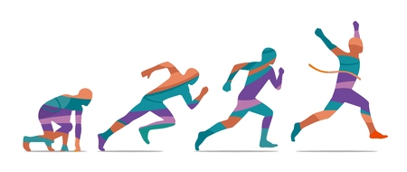 view abstract: Running step. Runner from start to finish. Side view. Abstract colorful vector illustration. For poster, label, banner, web. Isolated on white background