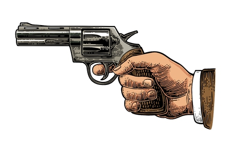 Hand holding revolver for fired. Vector color engraving vintage illustrations. Isolated on white background. For tattoo, web, shooting club and label
