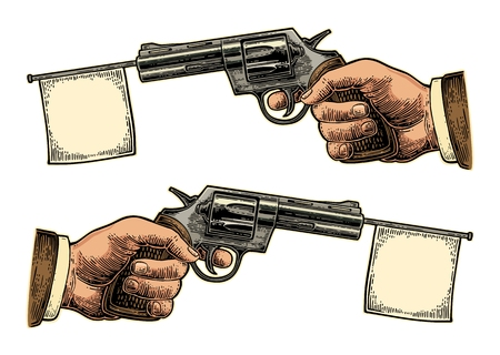 Male hand holding revolver with flag for text. Vector engraving vintage illustrations. Isolated on white background. For tattoo, web, shooting club and label Illustration
