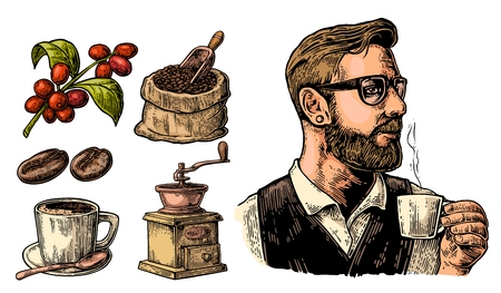 Hipster barista holding a cup of hot coffee. Sack with coffee beans with wooden scoop and beans, cup, branch with leaf and berry. Vintage color vector engraving illustration. Isolated on white background.