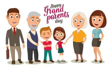 Happy family. Parents, grandparents and childs. Color flat vector illustration isolated on beige background. Hand drawn lettering. Illustration