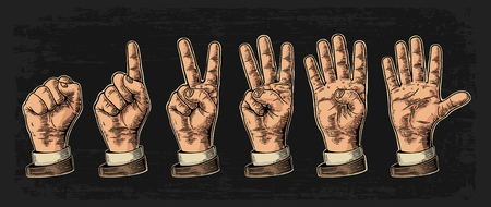 three points: Set of gestures of hands counting from zero to five. Male Hand sign. Vector vintage engraved illustration isolated on dark background. Illustration