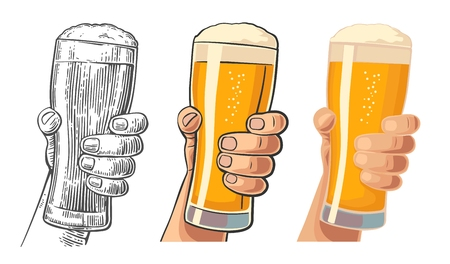 Male hand holding a beer glass. Drawing in three graphic styles. Vintage vector engraving and flat illustration for web, poster, invitation to invitation to party and birthday.