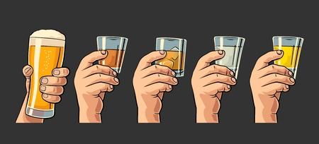 Mannelijke hand met een bril met bier, tequila, vodka, rum, whisky. Vintage kleur vector gravure illustratie voor label, poster, uitnodiging tot feest en verjaardag. Geïsoleerd op zwarte achtergrond