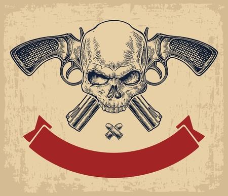 Dos cruzaron el revólver con balas, cráneo y la cinta. ilustraciones de vectores de grabado. Aislado en el fondo amarillento de la vendimia. Para el tatuaje, web, club de tiro y la etiqueta
