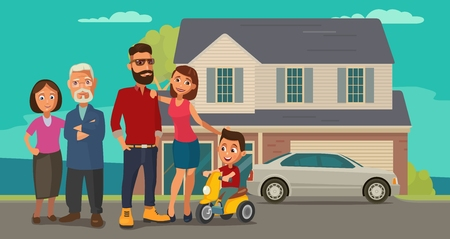 velocipede: Family. Parents, grandparents and child on a tricycle on background with house and car. Color flat vector illustration Illustration